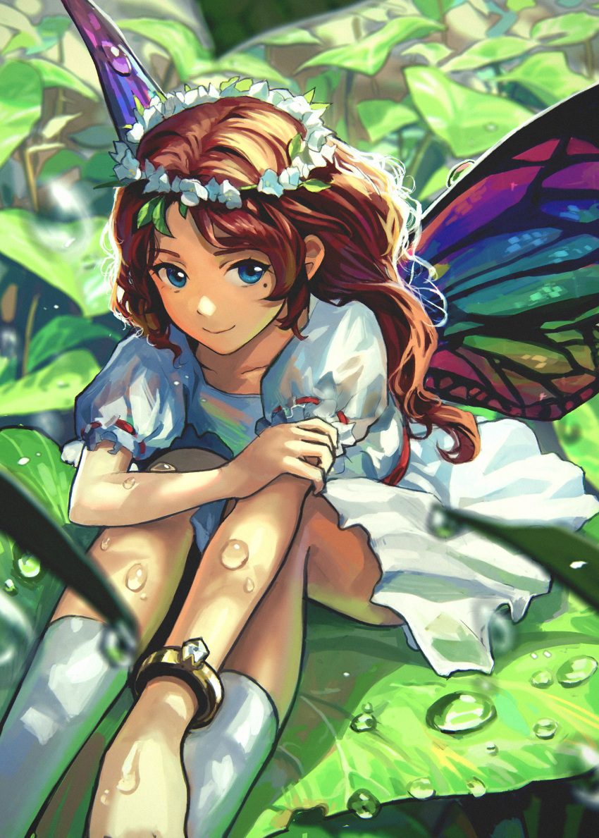 1girl absurdres blue_eyes brown_hair butterfly_wings dress flower hair_flower hair_ornament head_wreath highres long_hair mole mole_under_eye original pine_(yellowpine112) smile solo water_droplets wings