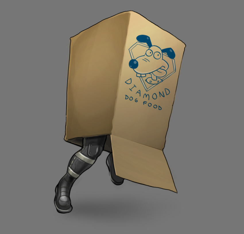 1boy amano-g big_boss box cardboard_box hiding highres male_focus metal_gear_(series) metal_gear_solid metal_gear_solid_v parody running solo wallace_and_gromit