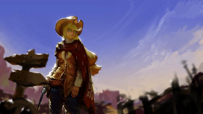 aci applejack gun handgun highres my_little_pony my_little_pony_friendship_is_magic personification pistol weapon western