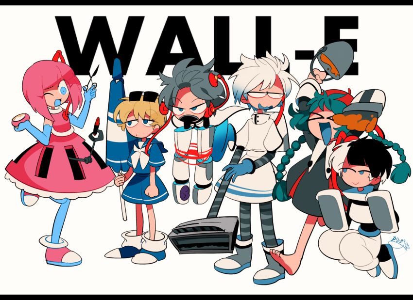 >_< 3boys 3girls ankle_boots apron aqua_eyes artist_name barefoot beret blonde_hair blue_hair blush boots braid bucket cape closed_eyes compact copyright_name defibrillator elbow_gloves floating gloves grey_hair hat karabako letterboxed lipstick makeup multicolored_hair multiple_boys multiple_girls paintbrush personification pink_hair sailor_collar sanpaku short_hair shorts simple_background smile standing_on_one_leg sunglasses sunglasses_on_head twin_braids umbrella vacuum_cleaner wall-e wavy_mouth white_background white_hair