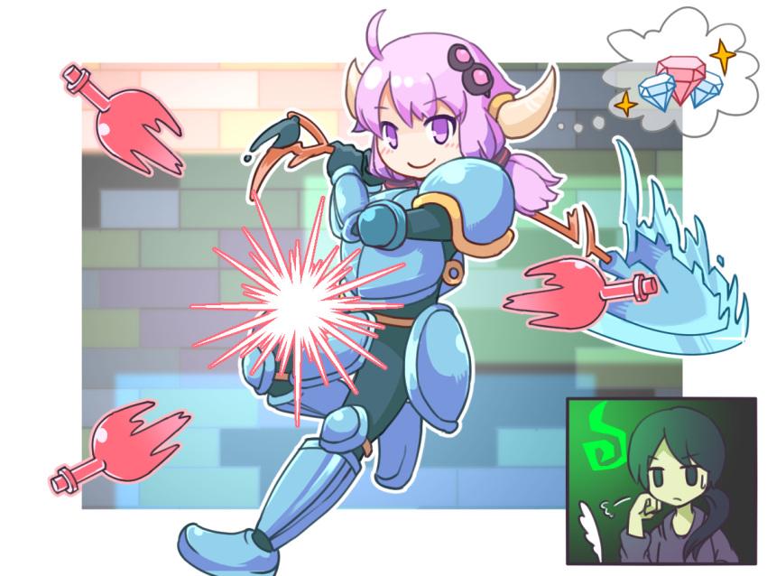 2girls armor cosplay multiple_girls purple_hair shovel shovel_knight shovel_knight_(character) violet_eyes vocaloid voiceroid worktool yuzuki_yukari