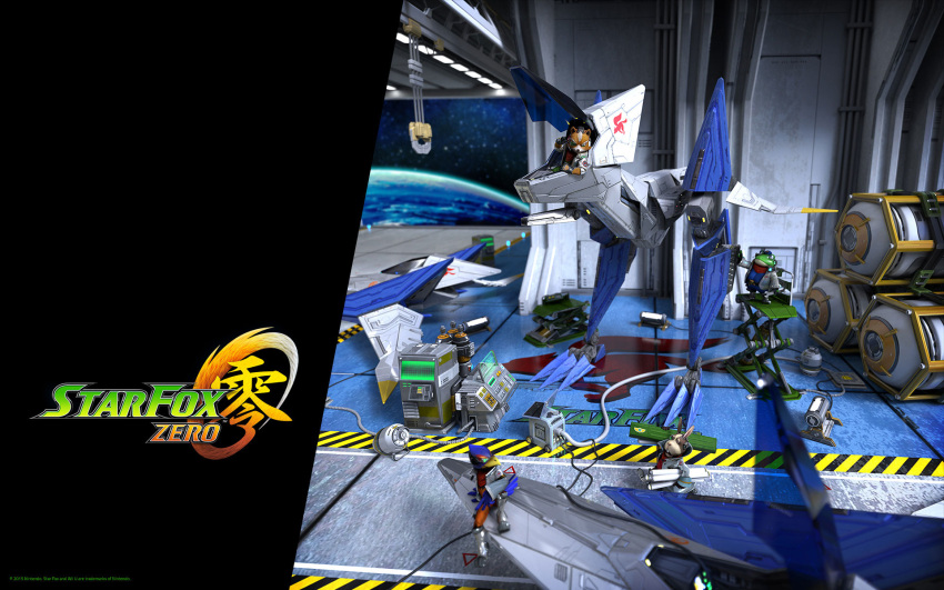 4boys airplane arwing blue_eyes boots carrying_over_shoulder copyright_name falco_lombardi fingerless_gloves fox_mccloud full_body furry gloves green_eyes hat headset highres jacket mecha multiple_boys nintendo no_humans official_art peppy_hare planet red_eyes scouter sitting slippy_toad space standing star_fox star_fox_zero wallpaper wrench