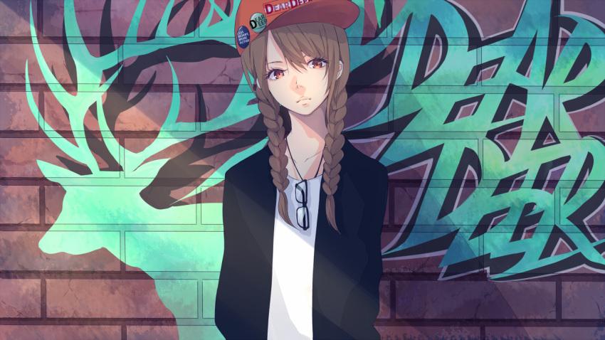 1girl akira_(mr_akira) braid brown_eyes brown_hair cap glasses glasses_removed graffiti long_hair original solo twin_braids vocaloid