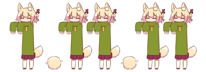 5girls animal_ear_fluff animal_ears bangs blonde_hair brown_footwear closed_eyes commentary eyebrows_visible_through_hair fox_ears fox_girl fox_tail fur green_shirt hair_bun hair_ornament highres kemomimi-chan_(naga_u) long_hair long_sleeves multiple_girls naga_u orange_neckwear original outstretched_arms pleated_skirt purple_skirt ribbon-trimmed_legwear ribbon_trim shirt sidelocks simple_background skirt sleeves_past_fingers sleeves_past_wrists standing tail thigh-highs white_background white_legwear yellow_fur
