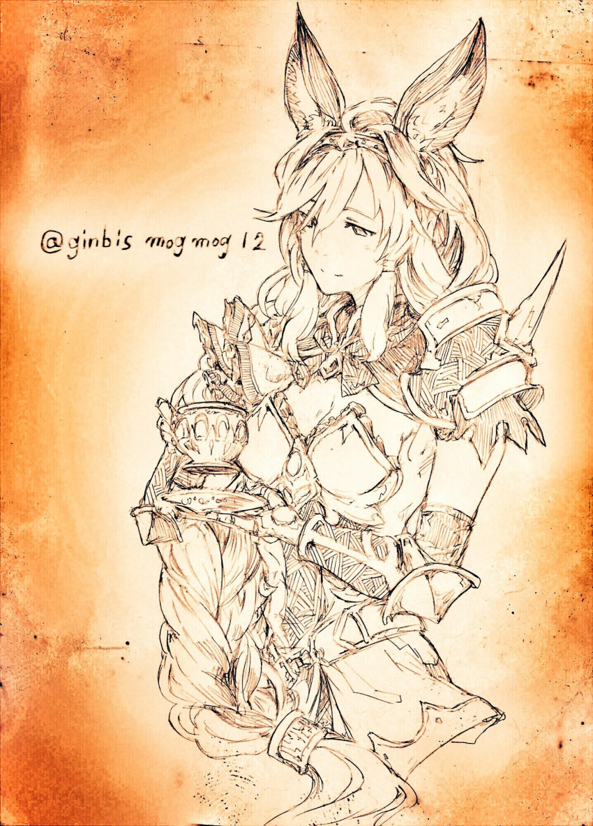 1girl animal_ears cup granblue_fantasy heles highres ido_(fobiddensins) monochrome sketch solo teacup translation_request