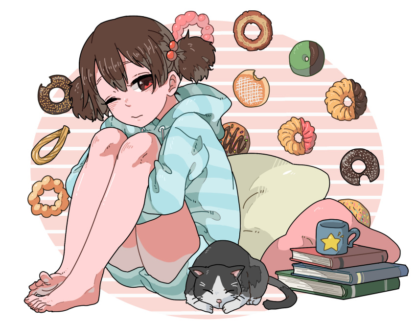 1girl barefoot book brown_eyes brown_hair casual cat cup doughnut food highres k-on! mug pillow short_hair suzuki_jun twintails yuuho