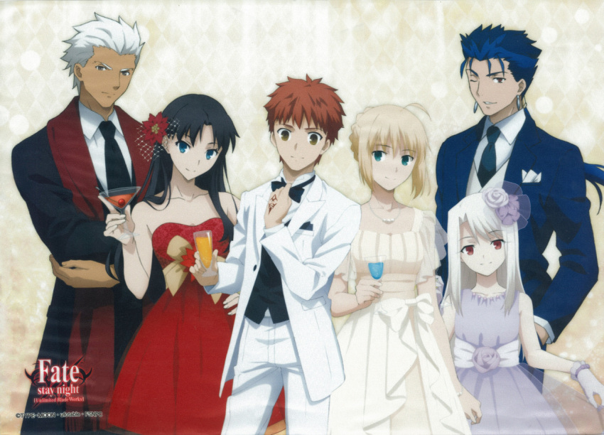 3boys 3girls ahoge archer black_hair blonde_hair blue_eyes blue_hair bowtie brown_eyes dress drink emiya_shirou fate/stay_night fate_(series) flower formal glass green_eyes hair_flower hair_ornament illyasviel_von_einzbern jewelry lancer multiple_boys multiple_girls necklace necktie official_art one_eye_closed ponytail red_eyes redhead rose saber scan scan_artifacts smile strapless_dress suit toosaka_rin white_hair