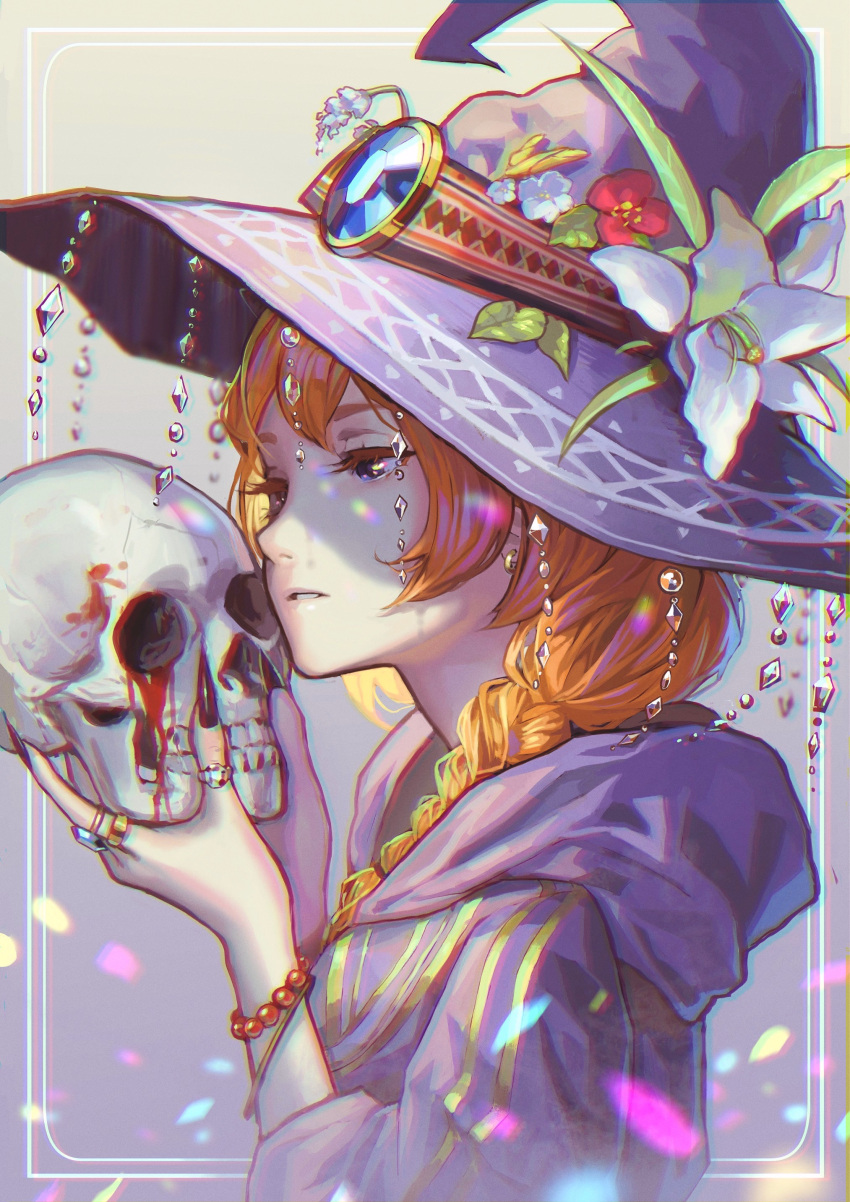 1girl absurdres bead_bracelet blood braid brown_hair earrings fingernails flower from_side hat highres holding jewelry lily_(flower) long_fingernails long_hair original parted_lips pine_(yellowpine112) ring skull solo upper_body violet_eyes witch witch_hat