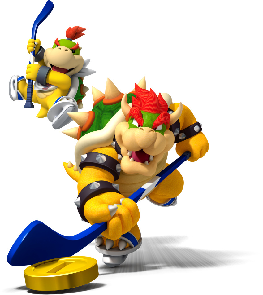 absurdres black_eyes bowser bowser_jr. coin father_and_son highres hockey_stick mario_(series) no_humans official_art red_eyes redhead