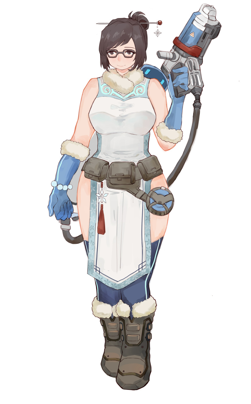 1girl absurdres bare_shoulders blue_legwear boots breasts brown_eyes gun highres light_smile mei-ling_zhou mei_(overwatch) overwatch short_hair simple_background solo thigh-highs thighs tied_hair viccik weapon white_background