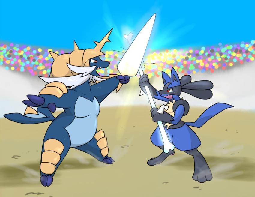 bone fighting lucario no_humans pokemon pokemon_(creature) samurott sketch sword weapon