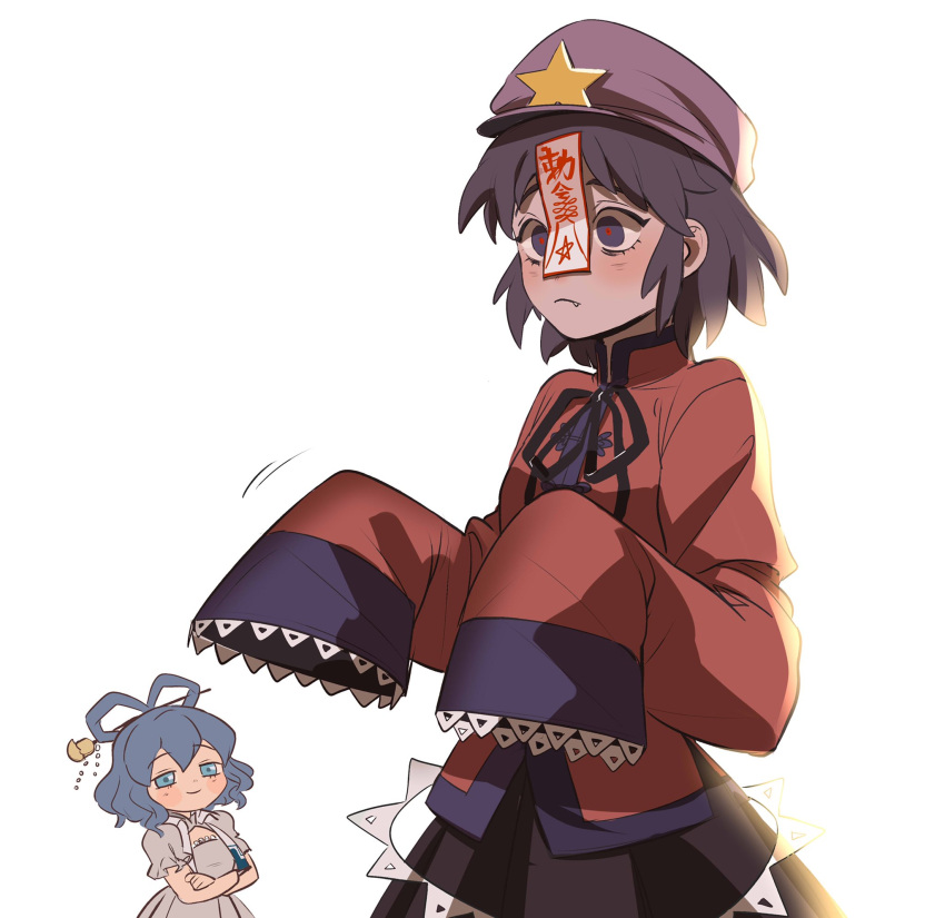2girls arms_under_breasts black_skirt blue_eyes blue_hair blush chibi closed_mouth cowboy_shot fang frown hair_ornament hair_rings hair_stick hat highres kaku_seiga looking_at_another miyako_yoshika multiple_girls oversized_clothes purple_hair purple_headwear red_pupils red_shirt shirt short_hair simple_background skirt smile solo_focus touhou umamimochi white_background