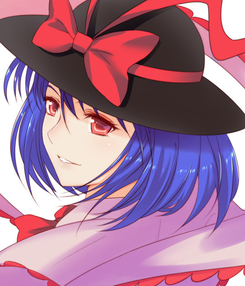 1girl blue_hair bow face hat hat_bow highres looking_at_viewer nagae_iku red_eyes smile solo touhou upper_body x&x&x