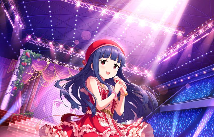 blue_hair blush cap dress idolmaster_cinderella_girls_starlight_stage long_hair red_eyes sajou_yukimi smile