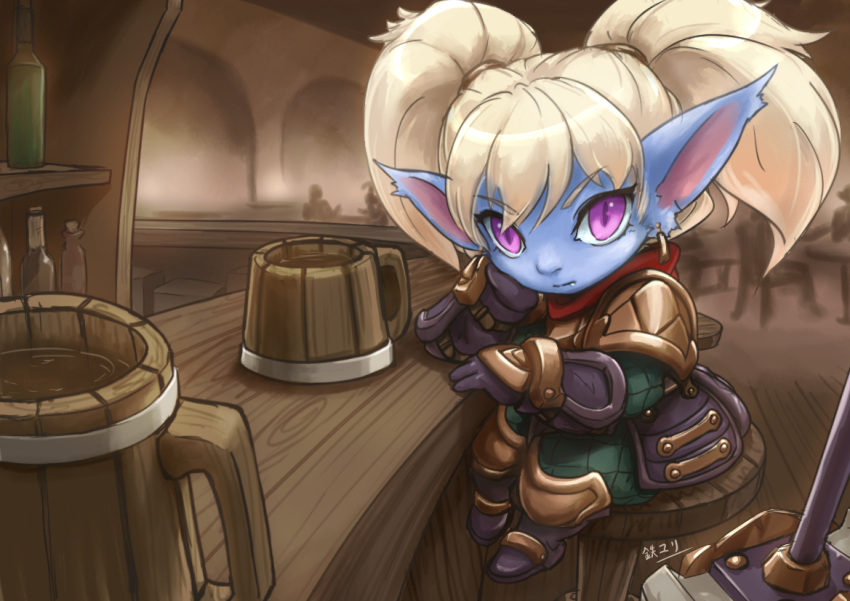 1girl bar beer_mug blonde_hair blue_skin cup hammer league_of_legends long_hair pointy_ears poppy tie_baihe translation_request twintails violet_eyes yordle