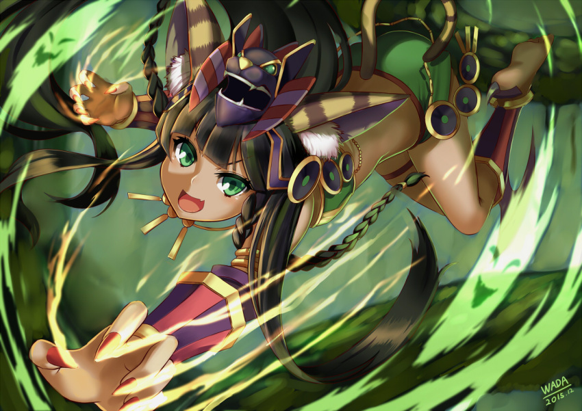 1girl animal_ears anklet bad_feet bangs barefoot bastet_(p&d) black_hair blunt_bangs cat_ears cat_tail commentary_request dark_skin egyptian error fang green_eyes jewelry long_hair open_mouth puzzle_&_dragons skirt smile solo tail wada_masanori