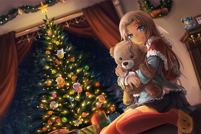 1girl arin_hanson bat_wings blonde_hair blue_eyes blush box capelet cat_slippers character_doll christmas_ornaments christmas_tree crossover dan_avidan doll_hug fang flandre_scarlet flowey_(undertale) freeze-ex game_grumps gift gift_box league_of_legends looking_at_viewer merry_christmas multiple_crossover onepunch_man otoko_no_ko poro_(league_of_legends) puzzle_&_dragons red_legwear remilia_scarlet saitama_(onepunch_man) shirt sitting skirt smile solo stuffed_animal stuffed_toy tamadra teddy_bear thigh-highs touhou undertale wariza wings zettai_ryouiki