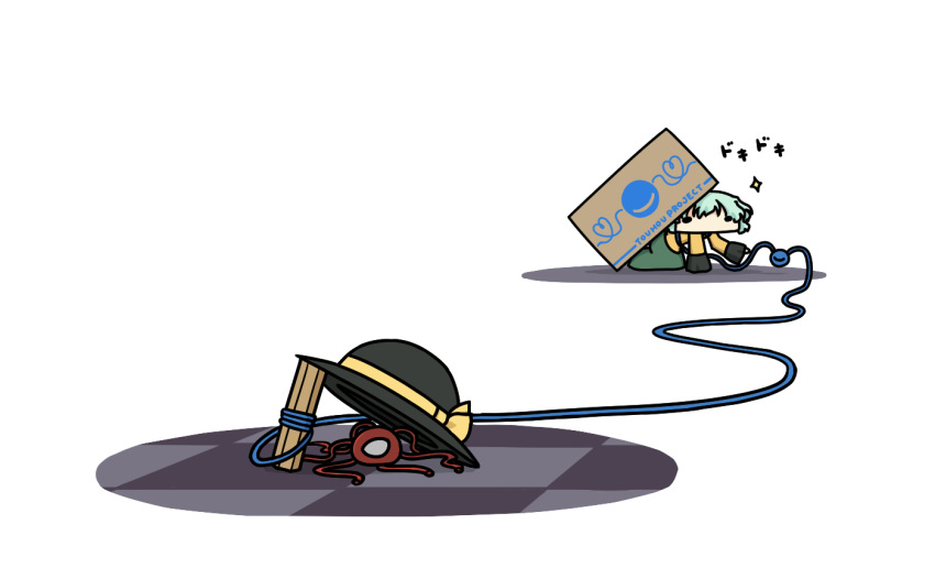 1girl box cardboard_box commentary_request drop_trap hat hat_ribbon hiding komeiji_koishi komeiji_satori kurokoori ribbon shirt silver_hair skirt third_eye touhou