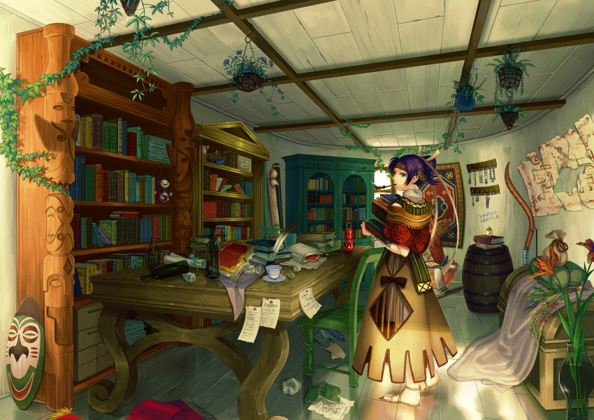 absurdres astkcrts barrel book book_stack bookshelf carrying chair crumpled_paper cup earrings feather_earrings flower green_eyes hair_ornament hanging_plant harp headband highres instrument jewelry lantern light note original paper pen pipe plant plate purple_hair sandals scroll smoke solo tape teacup window wine_bottle