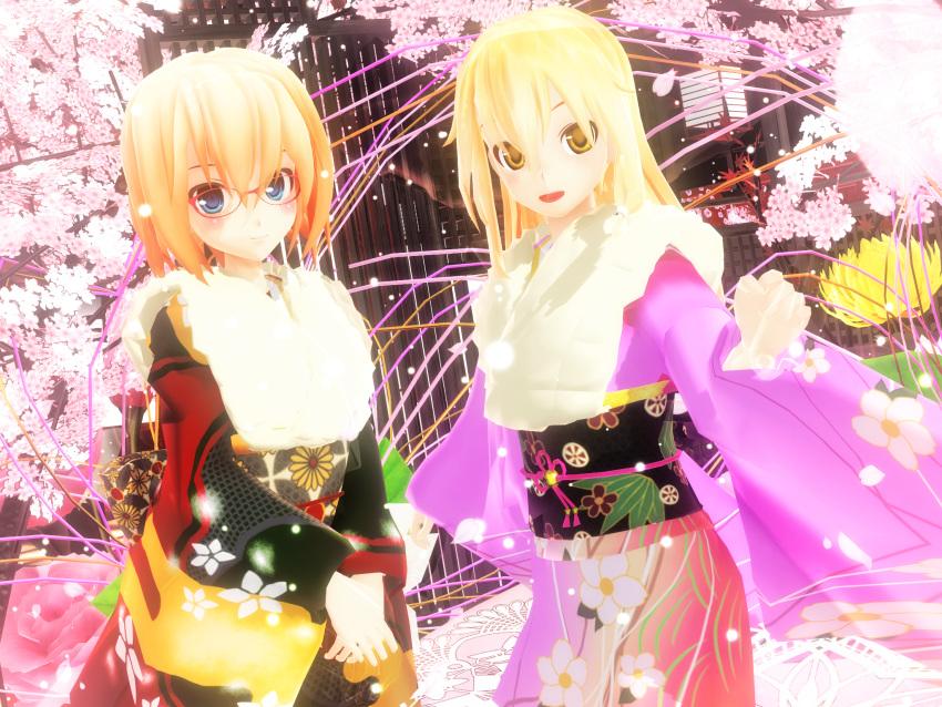 2girls 3d alice_margatroid glasses highres japanese_clothes kimono kirisame_marisa kurogoma_(meganegurasan) mikumikudance multiple_girls open_mouth touhou