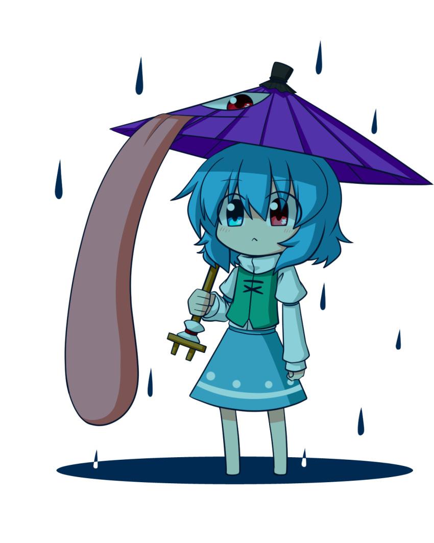1girl :< blue_eyes blue_hair blush chibi heterochromia highres katsumi5o rain red_eyes short_hair skirt solo tatara_kogasa tongue touhou tunic umbrella