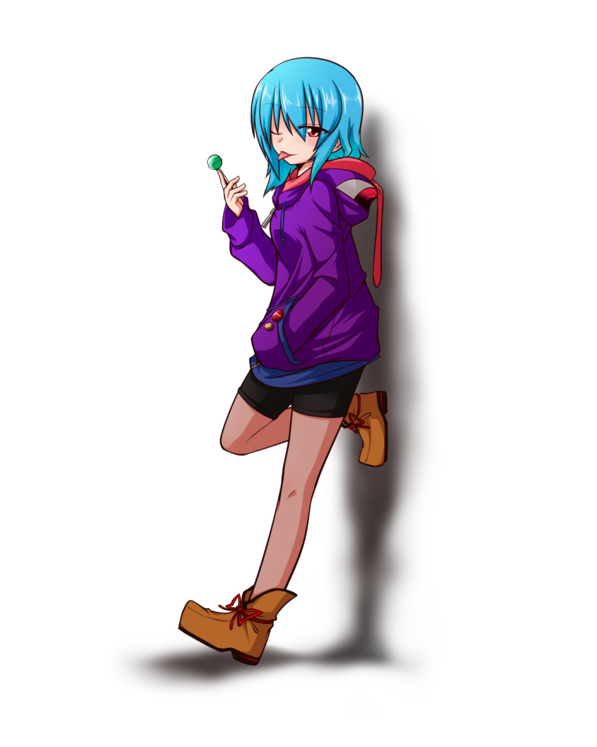 1girl :p ;p ankle_boots badge bike_shorts blue_hair blush boots button_badge candy hands_in_pockets heterochromia highres hood hoodie katsumi5o leaning lollipop long_sleeves one_eye_closed pantyhose red_eyes scarf shadow short_hair solo tatara_kogasa tongue tongue_out touhou