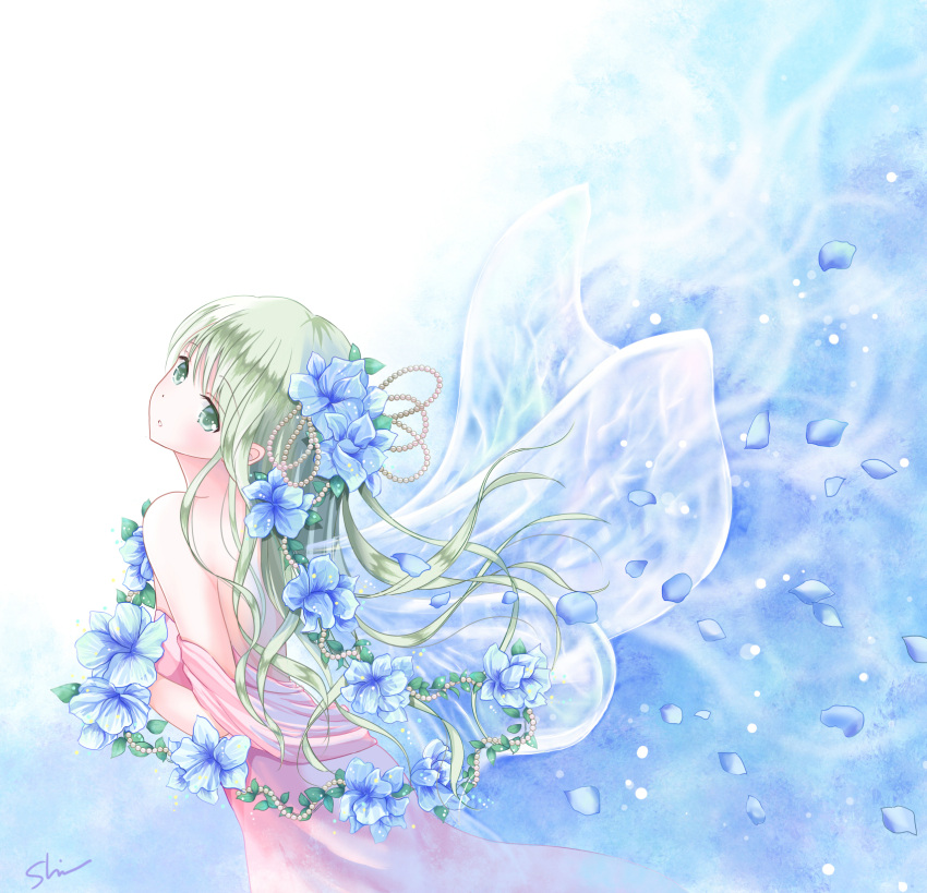 1girl back bangs bare_shoulders blue_background blue_flower blush cowboy_shot dress eyebrows eyebrows_visible_through_hair fairy flower from_side green_eyes green_hair hair_beads hair_flower hair_ornament highres long_hair original parted_lips penis petals shino_(shinderera) signature solo strapless_dress transparent_wings