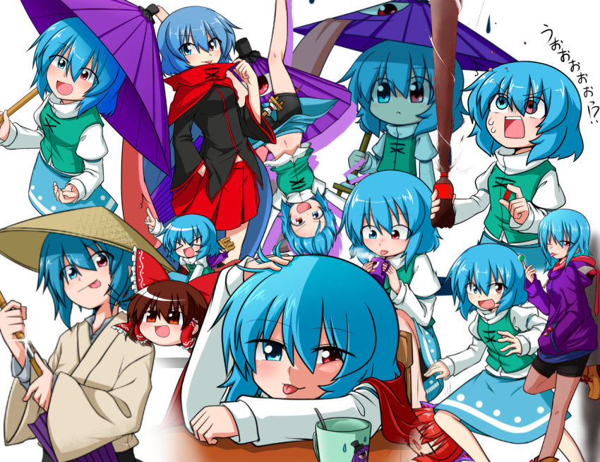 >_< +++ 6+girls :< :d :p ;p bike_shorts blue_eyes blue_hair blush boots breasts brown_hair candy cape closed_eyes coffee coffee_mug d:< drawing_sword geta glint hakurei_reimu heterochromia hood hoodie japanese_clothes juliet_sleeves katana katsumi5o kimono lollipop long_sleeves looking_at_viewer multiple_girls multiple_persona naughty_face navel one_eye_closed open_mouth puffy_sleeves red_eyes sekibanki sekibanki_(cosplay) skirt smile soda_bottle sword tatara_kogasa tongue tongue_out touhou tunic umbrella weapon xd yukkuri_shiteitte_ne