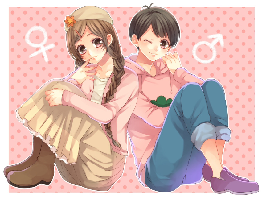 1boy 1girl :3 ;3 boots braid brown_hair genderswap hood hoodie izumi_chiro long_hair long_skirt mars_symbol matsuno_todomatsu osomatsu-kun osomatsu-san pants pants_rolled_up polka_dot polka_dot_background short_hair skirt todoko_(osomatsu-san) twin_braids venus_symbol