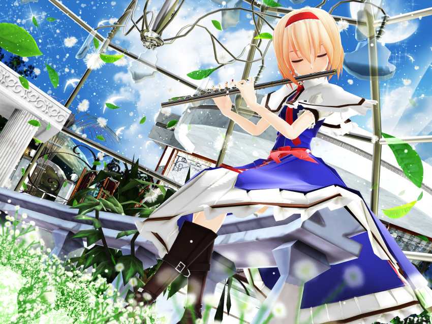 1girl 3d alice_margatroid boots dress flower hairband highres instrument kurogoma_(meganegurasan) mikumikudance plant solo touhou