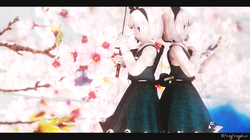 2girls 3d ascot back-to-back blue_sky bob_cut cherry_blossoms day dual_persona frogfrognico green_skirt green_vest hairband hand_on_own_chest hand_up holding_sword holding_weapon katana konpaku_youmu konpaku_youmu_(ghost) letterboxed looking_afar mikumikudance multiple_girls open_mouth profile scabbard serious sheath shirt skirt sky smile sword touhou twitter_username weapon white_hair white_shirt