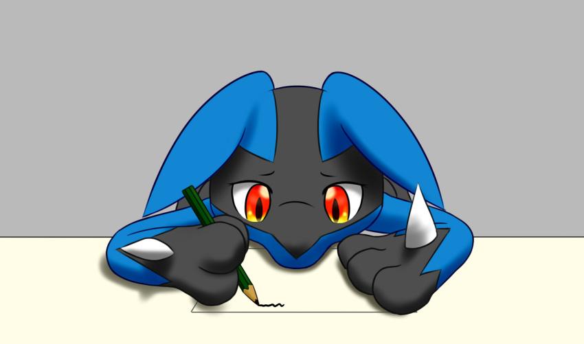 lucario no_humans paper pencil pokemon pokemon_(creature) red_eyes writing