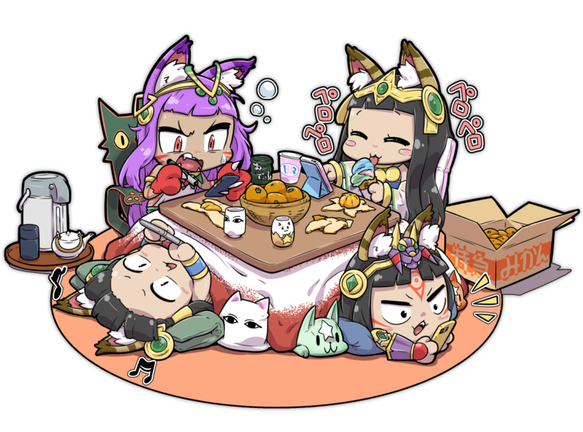 4girls :3 animal_ears bastet_(p&d) black_hair blush bowl cat_ears cat_paws cat_tail cellphone chibi circlet closed_eyes commentary_request cup dark_skin earrings eating egyptian facial_mark food fruit green_eyes ice_cream ice_cream_cone jewelry kotatsu licking long_hair lying mandarin_orange medjedra multiple_girls on_back on_stomach open_mouth orange paws phone purple_hair puzzle_&_dragons red_eyes smile stylus table tail teapot tokkyuu_mikan tongue tongue_out under_kotatsu under_table