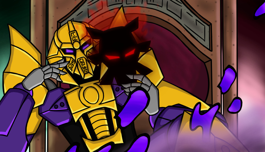 1boy absurdres armor bionicle crossover dio_brando highres jojo_no_kimyou_na_bouken makuta mask parody the_lego_group violet_eyes