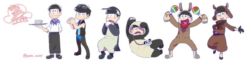 6+boys animal_costume bandana bowl_cut brothers character_request drinking fukuyama_jun gloves grizzly_(shirokuma_cafe) grizzly_(shirokuma_cafe)_cosplay) half_gloves heart heart_in_mouth instrument kamiya_hiroshi llama_(shirokuma_cafe) llama_(shirokuma_cafe)_(cosplay long_image male_focus maracas matsuno_choromatsu matsuno_ichimatsu matsuno_juushimatsu matsuno_karamatsu matsuno_osomatsu matsuno_todomatsu messy_hair multiple_boys nakamura_yuuichi ono_daisuke osomatsu-kun osomatsu-san panda_(shirokuma_cafe) panda_(shirokuma_cafe)_(cosplay) penguin_(shirokuma_cafe) penguin_(shirokuma_cafe)_(cosplay) penguin_costume sakurai_takahiro seiyuu_connection sextuplets shirokuma_(shirokuma_cafe) shirokuma_(shirokuma_cafe)_(cosplay) shirokuma_cafe siblings sleeves_past_wrists smile sunglasses sunglasses_on_head triangle_mouth twitter_username vest wide_image