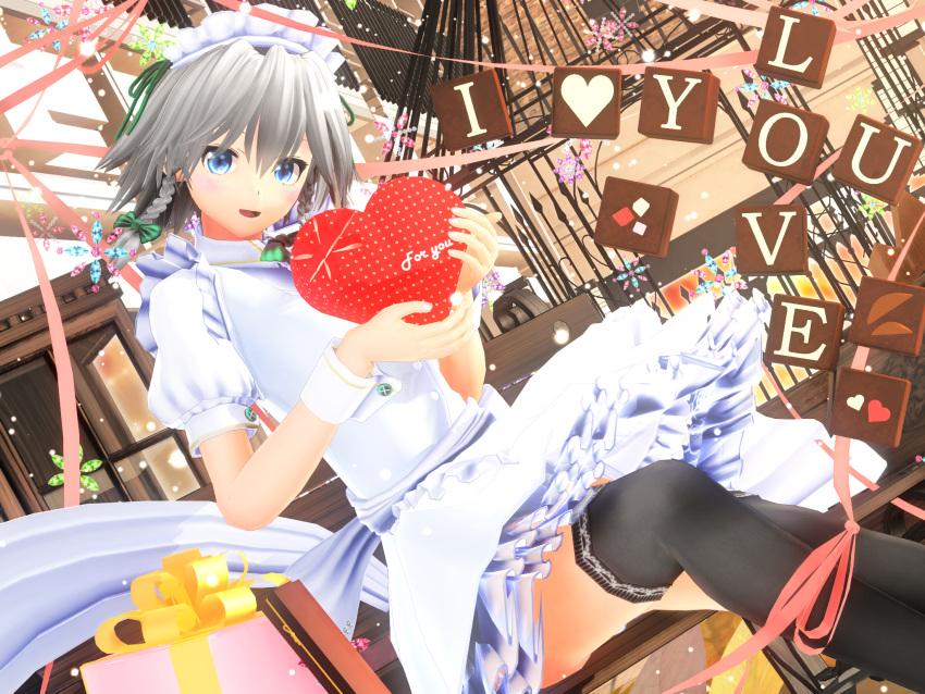1girl 3d dress english gift highres holding_gift izayoi_sakuya kurogoma_(meganegurasan) maid maid_headdress mikumikudance solo touhou valentine