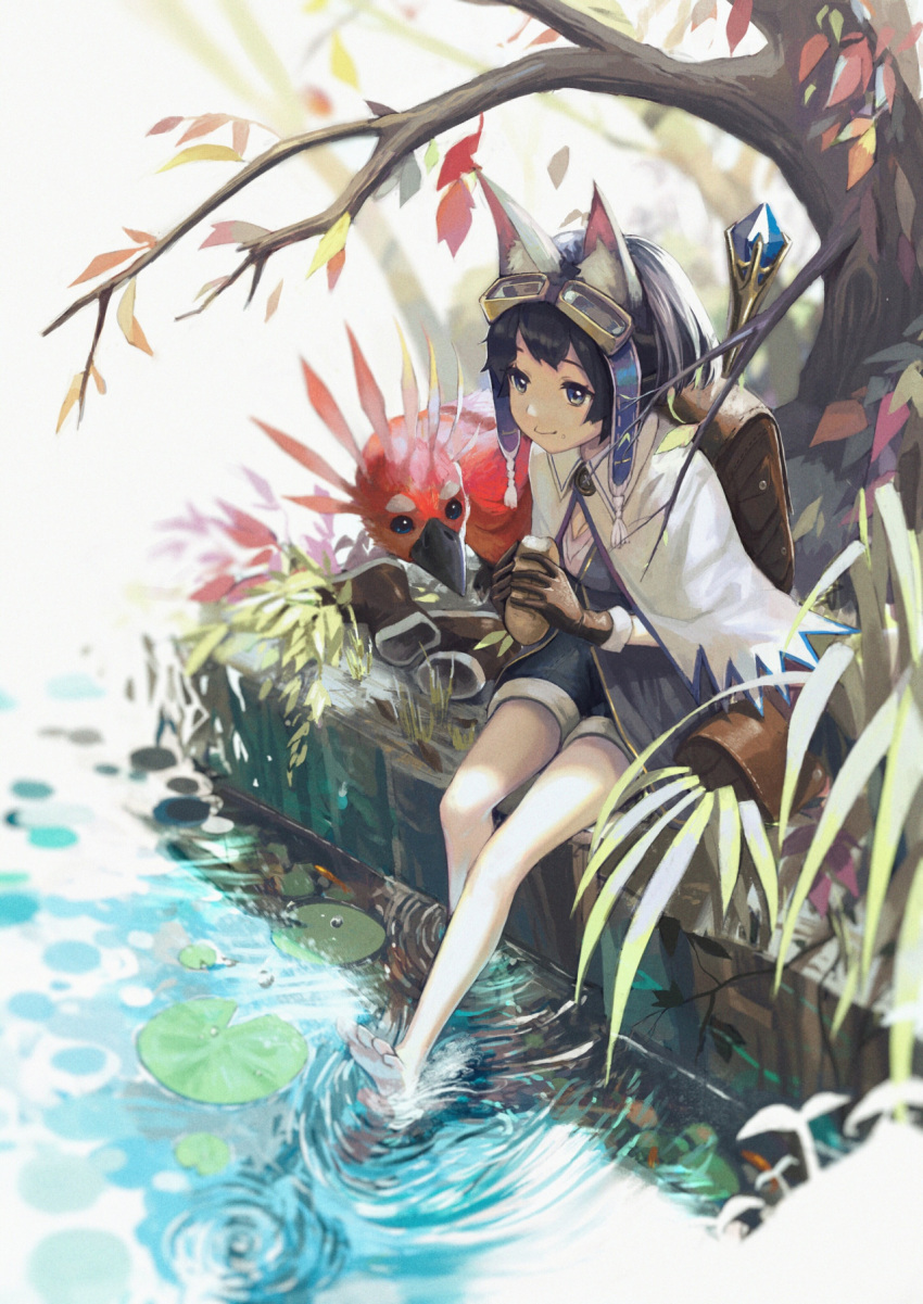 1girl animal_ears backpack bag barefoot bird black_hair boots bread capelet cat_ears eating feet_in_water food gloves goggles goggles_on_head green_eyes highres legs lily_pad original pine_(yellowpine112) ripples shoes_removed short_hair shorts soaking_feet solo tail tree water