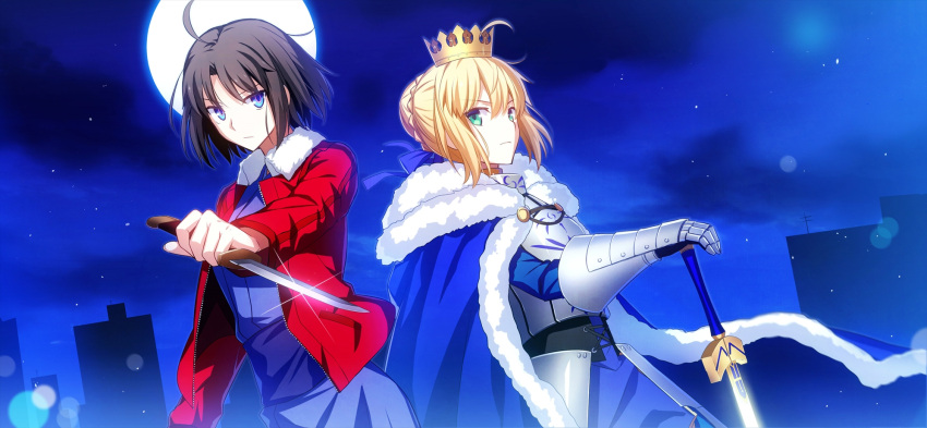 2girls black_hair blonde_hair breastplate cape crown excalibur fate/grand_order fate/stay_night fate_(series) full_moon fuyuki_(neigedhiver) gauntlets green_eyes highres holding_knife holding_sword holding_weapon japanese_clothes kara_no_kyoukai kimono looking_at_viewer moon multiple_girls ryougi_shiki saber short_hair sword weapon