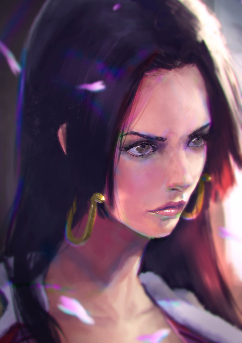 1girl absurdres black_hair boa_hancock cherry_blossoms earrings gan_wen_haw highres jewelry one_piece solo