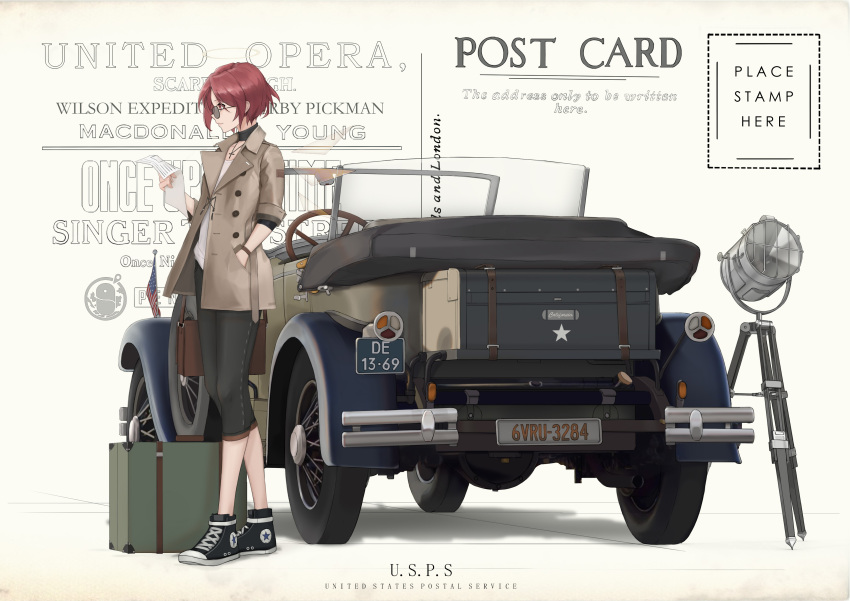 1girl absurdres american_flag arknights bag black_footwear black_pants brown_coat car chinese_commentary choker cjmy coat commentary_request cross cross_necklace english_text exusiai_(arknights) glasses ground_vehicle hand_in_pocket handbag highres holding holding_paper jewelry license_plate motor_vehicle necklace pants paper postcard redhead searchlight shirt short_hair solo standing suitcase wheel white_shirt