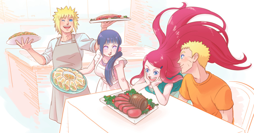 2boys 2girls :d apron black_hair blonde_hair blue_eyes blush family father_and_son food hair_ornament hairclip husband_and_wife hyuuga_hinata lavender_eyes long_hair mother_and_son multiple_boys multiple_girls namikaze_minato naruto open_mouth plate redhead risuo smile spiky_hair table time_paradox tray uzumaki_kushina uzumaki_naruto very_long_hair whisker_markings