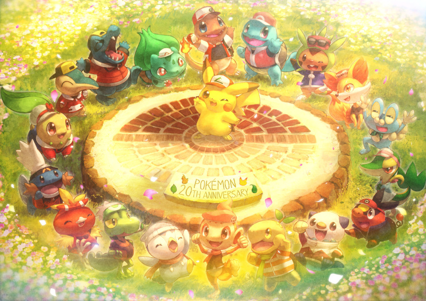 :d ;d ^_^ anniversary arms_up backwards_hat bag baseball_cap beanie belt black_eyes blue_(pokemon) blue_(pokemon)_(cosplay) blue_eyes bulbasaur calme_(pokemon) calme_(pokemon)_(cosplay) charmander chespin chikorita chimchar clenched_hands closed_eyes closed_mouth clothed_pokemon cosplay cosplay_request crossed_arms cyndaquil fangs fennekin flower froakie fushigi_no_dungeon gold_(pokemon) gold_(pokemon)_(classic) gold_(pokemon)_(classic)_(cosplay) gold_(pokemon)_(cosplay) grass green_scarf hairband haruka_(pokemon) haruka_(pokemon)_(remake) haruka_(pokemon)_(remake)_(cosplay) hat hat_ribbon high_collar highres hikari_(pokemon) hikari_(pokemon)_(cosplay) holding holding_poke_ball hood hoodie hue_(pokemon) hue_(pokemon)_(cosplay) jacket jun_(pokemon) jun_(pokemon)_(cosplay) kotone_(pokemon) kotone_(pokemon)_(cosplay) kouki_(pokemon) kouki_(pokemon)_(cosplay) kyouhei_(pokemon) kyouhei_(pokemon)_(cosplay) leg_up looking_at_viewer mei_(pokemon) mei_(pokemon)_(cosplay) mudkip no_humans one_eye_closed open_clothes open_jacket open_mouth oshawott outdoors petals pikachu piplup poke_ball pokemon pokemon_(anime) pokemon_(creature) pokemon_(game) pokemon_bw2 pokemon_dppt pokemon_frlg pokemon_fushigi_no_dungeon pokemon_gsc pokemon_hgss pokemon_oras pokemon_rgby pokemon_rse pokemon_xy raglan_sleeves red_(pokemon) red_(pokemon)_(cosplay) red_(pokemon)_(remake) red_eyes red_scarf ribbon satoshi_(pokemon) satoshi_(pokemon)_(classic) satoshi_(pokemon)_(cosplay) scarf serena_(pokemon) serena_(pokemon)_(cosplay) shirt short_sleeves skirt smile snivy squirtle standing_on_one_leg striped striped_shirt sunglasses sunglasses_on_head tepig toitoi508 torchic totodile treecko turtwig unzipped visor_cap yuuki_(pokemon) yuuki_(pokemon)_(cosplay) yuuki_(pokemon)_(remake) yuuki_(pokemon)_(remake)_(cosplay) zipper