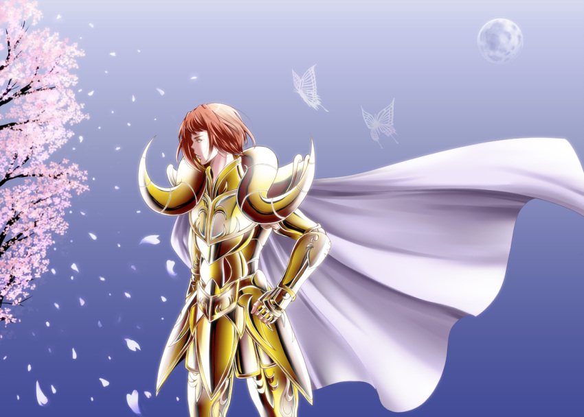 1boy aries_gateguard armor cape cherry_blossoms fingerless_gloves gauntlets gloves moon petals redhead saint_seiya saint_seiya:_the_lost_canvas solo tree yuuko_(siro-qube)