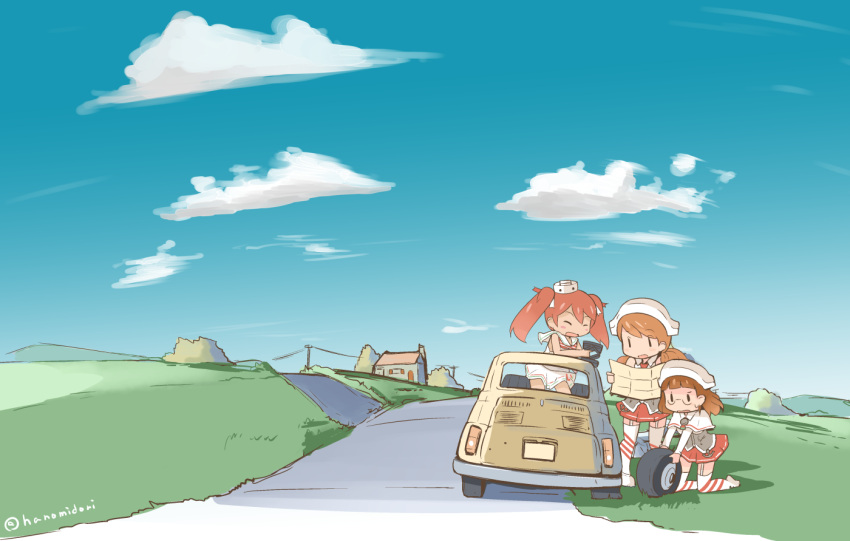 3girls blue_sky brown_hair car closed_eyes clouds dress fiat_500 flat_tire garter_straps glasses grass hanomido hat house italy kantai_collection kneeling landscape libeccio_(kantai_collection) light_brown_hair littorio_(kantai_collection) map miniskirt motor_vehicle multiple_girls open_mouth power_lines reading redhead road roma_(kantai_collection) sailor_dress skirt sky smile sweatdrop telephone_pole thigh-highs twitter_username vehicle wheel  _ 