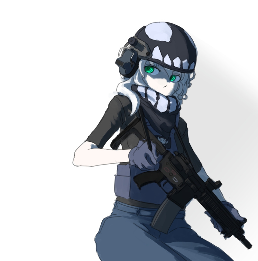 1girl adapted_costume assault_rifle body_armor bulletproof_vest ear_protection green_eyes gun heckler_&_koch helmet highres hk416 kantai_collection operator plate_carrier rifle sate shinkaisei-kan sling solo weapon white_hair wo-class_aircraft_carrier