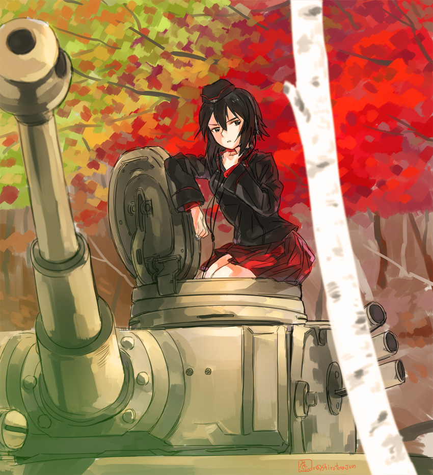 1girl black_jacket brown_eyes brown_hair commentary_request garrison_cap girls_und_panzer ground_vehicle hat highres jacket military military_vehicle motor_vehicle nishizumi_maho red_shirt red_skirt shirt short_hair skirt solo tank tiger_i tora_jun