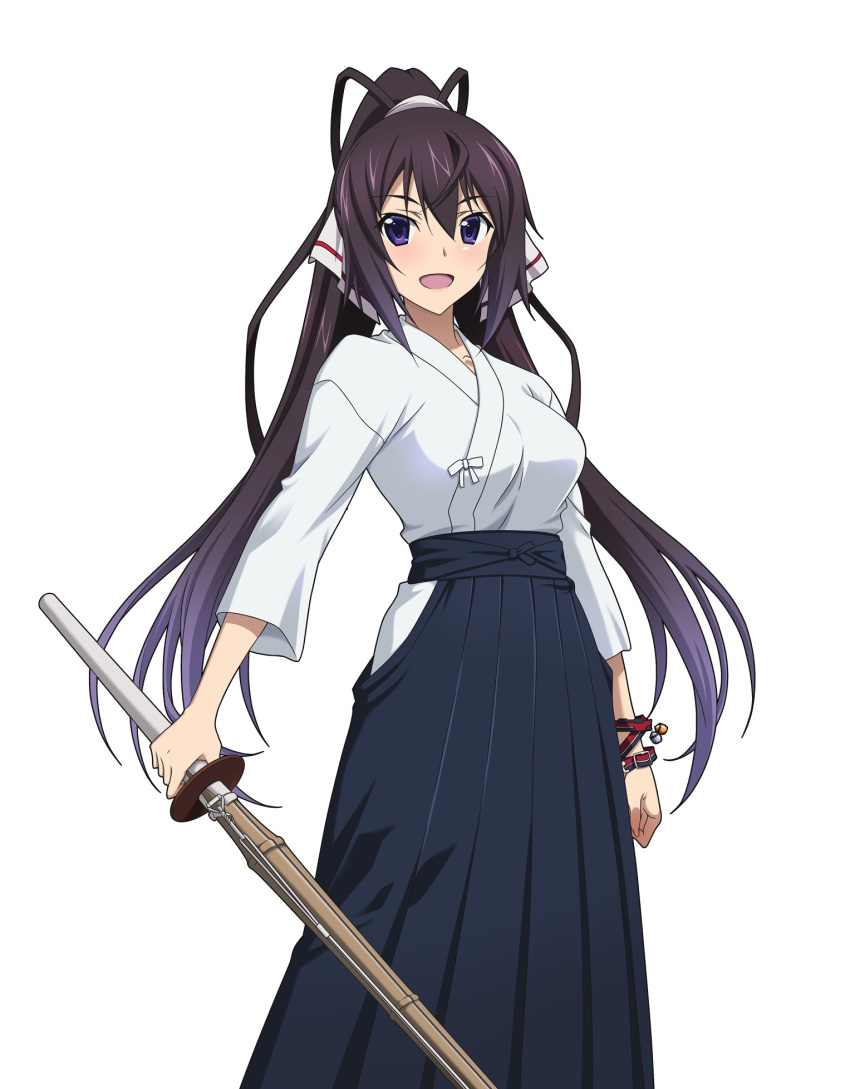 1girl :d black_hair black_hakama blue_eyes bracelet collarbone hair_between_eyes hair_ribbon hakama high_ponytail highres holding holding_sword holding_weapon infinite_stratos japanese_clothes jewelry kimono long_hair looking_at_viewer open_mouth ribbon shinai shinonono_houki simple_background smile solo sword very_long_hair weapon white_background white_kimono white_ribbon