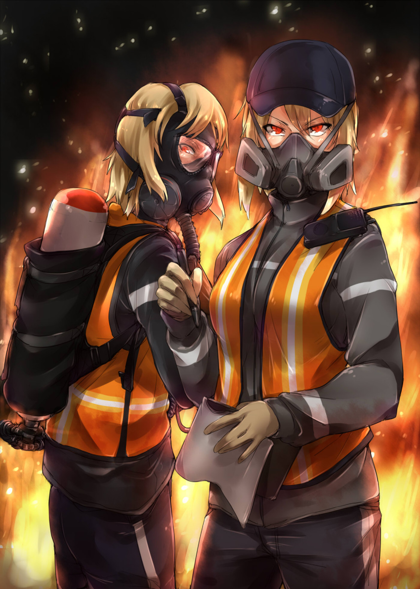 2girls ayyh baseball_cap blonde_hair cleaners field_radio fire flamethrower gloves hat highres multiple_girls notepad oxygen_mask oxygen_tank pen red_eyes respirator short_hair tom_clancy's_the_division vest weapon
