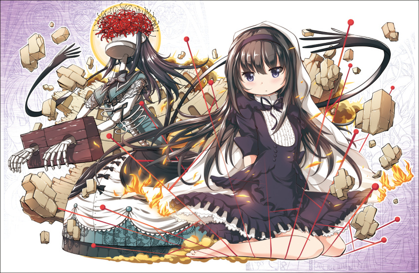 1girl :/ akemi_homura arms_behind_back barefoot black_dress black_eyes black_hair blanket blush brick_wall chauke cuffs dress embers fire flower full_body hairband homulilly long_hair mahou_shoujo_madoka_magica mahou_shoujo_madoka_magica_movie rubble sailor_collar shackles sitting skeleton spider_lily spoilers very_long_hair wariza