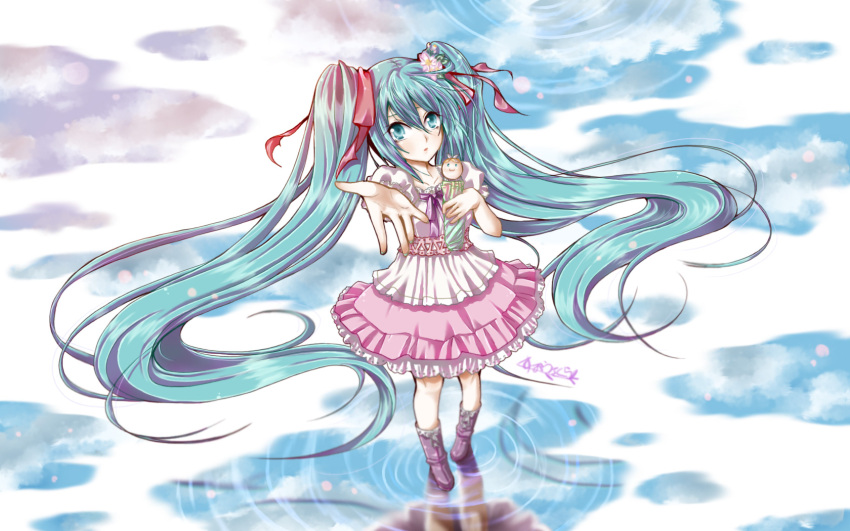dress hatsune_miku long_hair melt_(vocaloid) twintails vocaloid